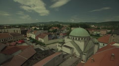European town with synagogue from clock tower Stock Footage