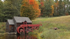 Old New England grist mill in Autumn Stock Footage