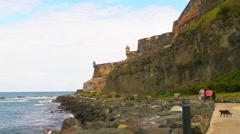 Puerto Rico - El Morro Oceanfront Sidewalk and Cat Haven v2 Stock Footage
