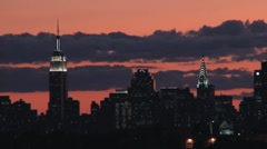 New York City Skyline at Sunset Time-Lapse, Manhattan NYC - stock footage