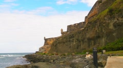 Puerto Rico - El Morro Oceanfront Sidewalk and Cat Haven v1 Stock Footage