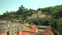 Castle and church in European town Stock Footage