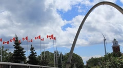 Exhibition Place Arch and Wind Turbine Stock Footage