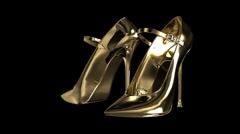 Gold Woman`s shoes - stock footage