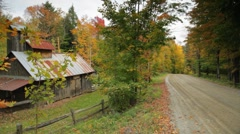 Sugar shack, rural Vermont, in Autumn Stock Footage