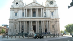 St Pauls Cathedral London with Black Cabs 50i Stock Footage