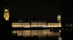 The Houses of Parliament with River boats - stock footage
