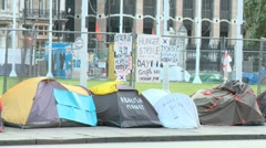 Protestors camping in Parliament Square London 50i Stock Footage