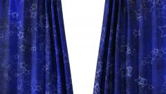 Curtain opening blue HD - stock footage