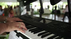 Keyboardist wedding tent Stock Footage
