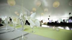 Wedding head table shallow Stock Footage