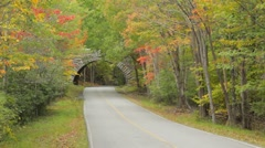 Park Loop Road stone bridge in Autumn, Acadia National Park Stock Footage
