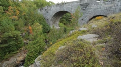 Duck Brook Bridge in Autumn, Acadia National Park Stock Footage