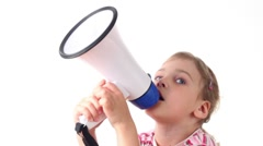 Girl holds loudspeaker directed upward and says into him Stock Footage