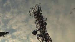 Cell Phone Tower Cloud Time Lapse Stock Footage