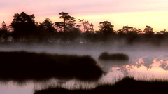 Beautiful fog on lake 2 Stock Footage