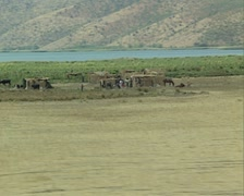 View of countryside with nomad village - stock footage
