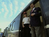 Conductor and driver on train at station Stock Footage