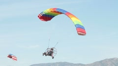 Powered Parachute dual low approach 0042 Stock Footage