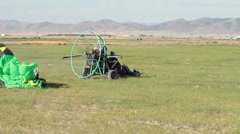 Power Parachute take off in field 0041 Stock Footage