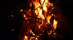 Crackling bright hot fire of sticks and twigs Stock Footage