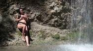 Stock Video Footage of bikini and waterfall