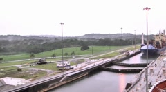 Side of Panama Channel shot from ship Stock Footage