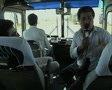 Close up of tour guide talking on tour coach Footage