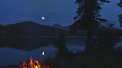 Stock Video Footage of Moonbeam, Campfire, Lake, and Tree