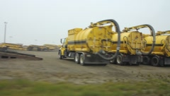 Oil refinery vehicles in Prudhoe Bay Alaska(HD)c - stock footage