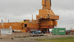 Drilling rig in Prudhoe Bay Alaska(HD)c - stock footage