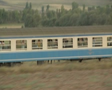 Stock Video Footage of Close up of moving train carriage