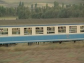 Close up of moving train carriage Stock Footage