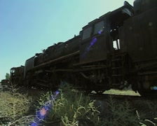Ground level view of stationary train Stock Footage