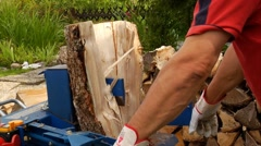 close-up electric log splitter - stock footage