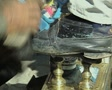 Close up of shoe being shined SD Footage