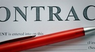 Close-up contract agreement dolly shot Stock Footage