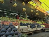 Ground level view of fruit stall Stock Footage
