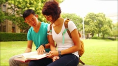College Students Study Outside on Campus Stock Footage