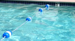 Swimming pool safety rope divider. Stock Footage