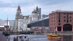 Albert Dock Liverpool England With Liver Building In The Background Stock Footage