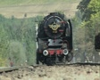 Close up of approaching steam train from front Footage