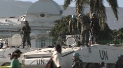 UN peacekeepers around the Presidential Palace in Port Au Prince haiti after a Stock Footage