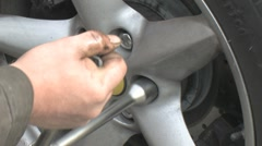 Wheel nuts being loosened Stock Footage