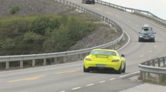 Mercedes SLS E-cell on bridge Stock Footage