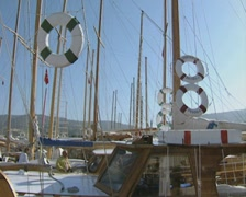 Sailing boats in harbour Stock Footage