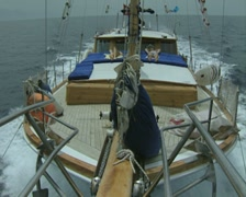 View from front of boat down length of boat Stock Footage
