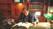 Minister Studying In Church Office Stock Footage