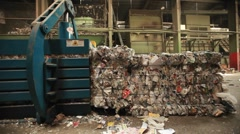 Workers around pallets of recycle materials. Stock Footage