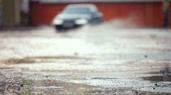Car on Wet Road Stock Footage
